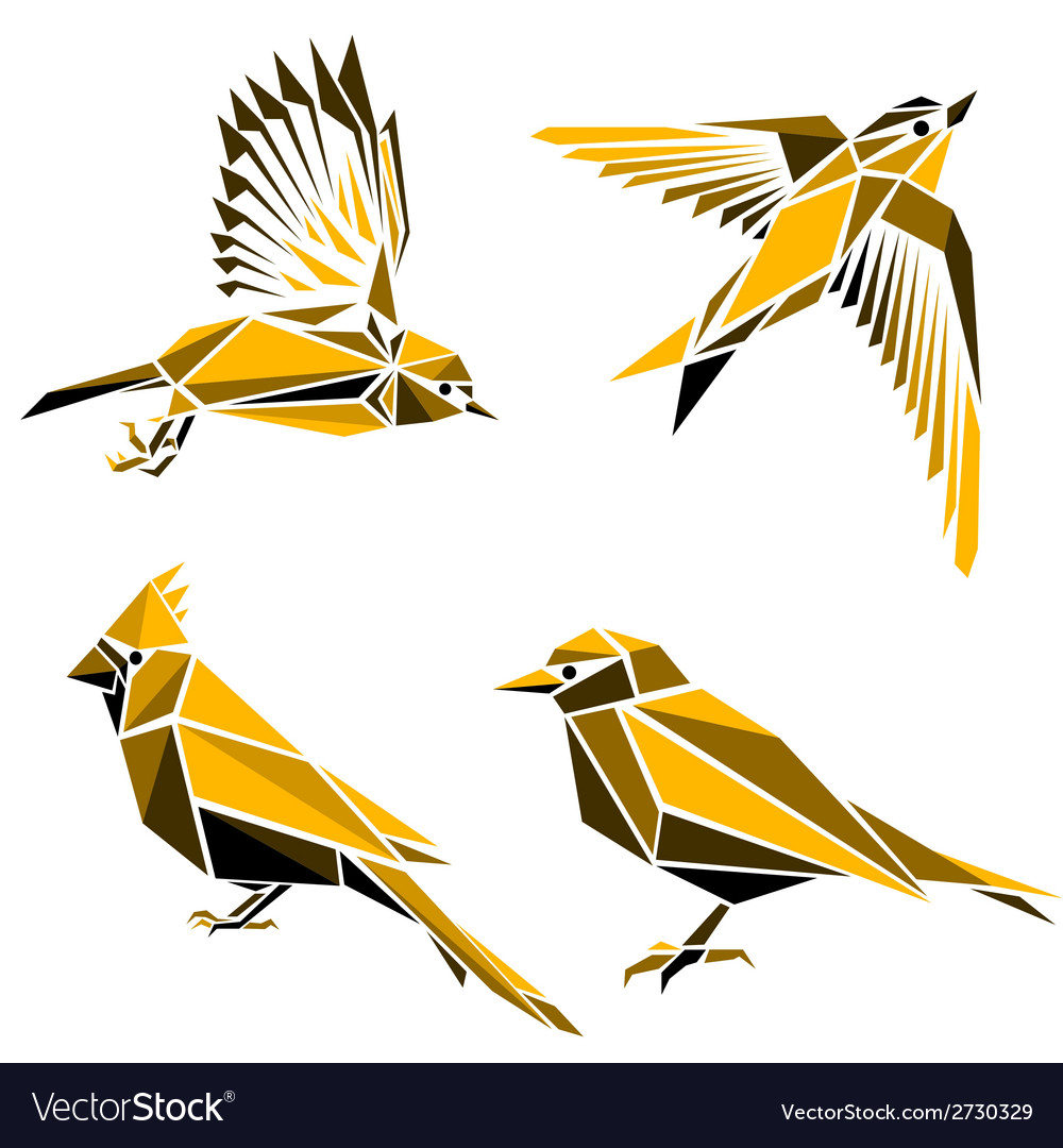 Set of four triangle birds symbols vector | Price: 1 Credit (USD $1)