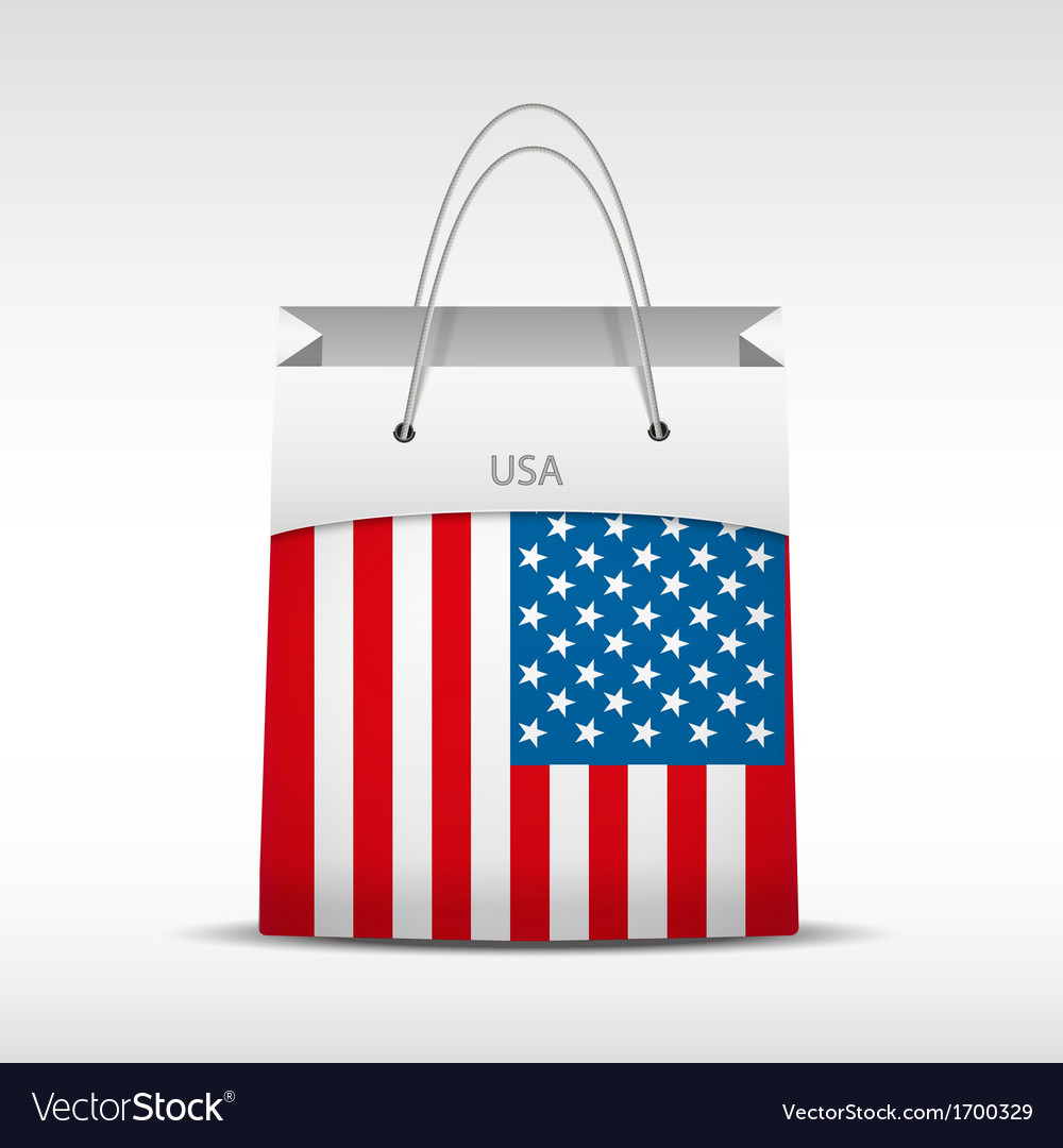Shopping bag with usa flag vector | Price: 1 Credit (USD $1)