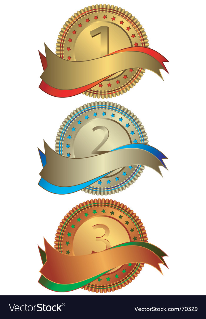 Silvery golden and bronze plates vector | Price: 1 Credit (USD $1)