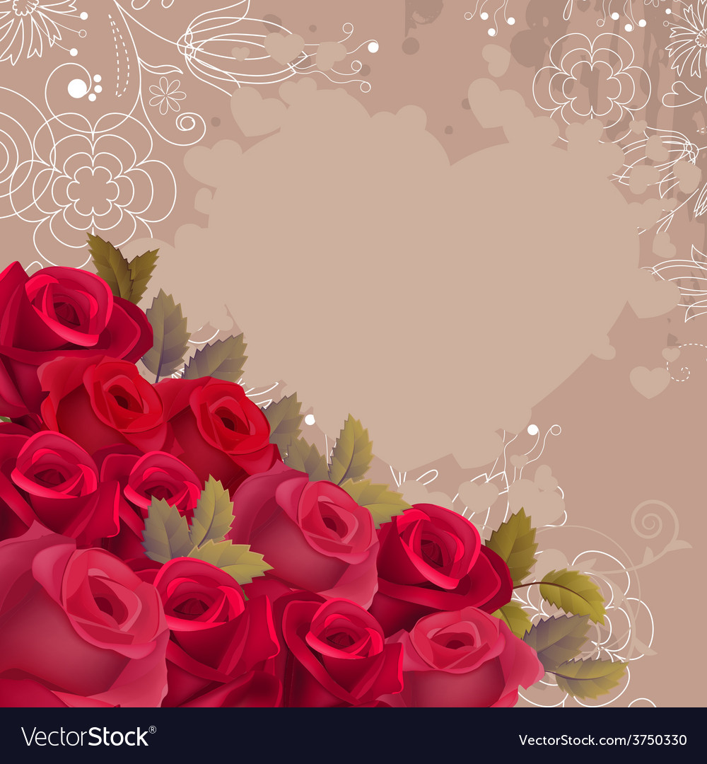 Beige background with realistic red roses vector