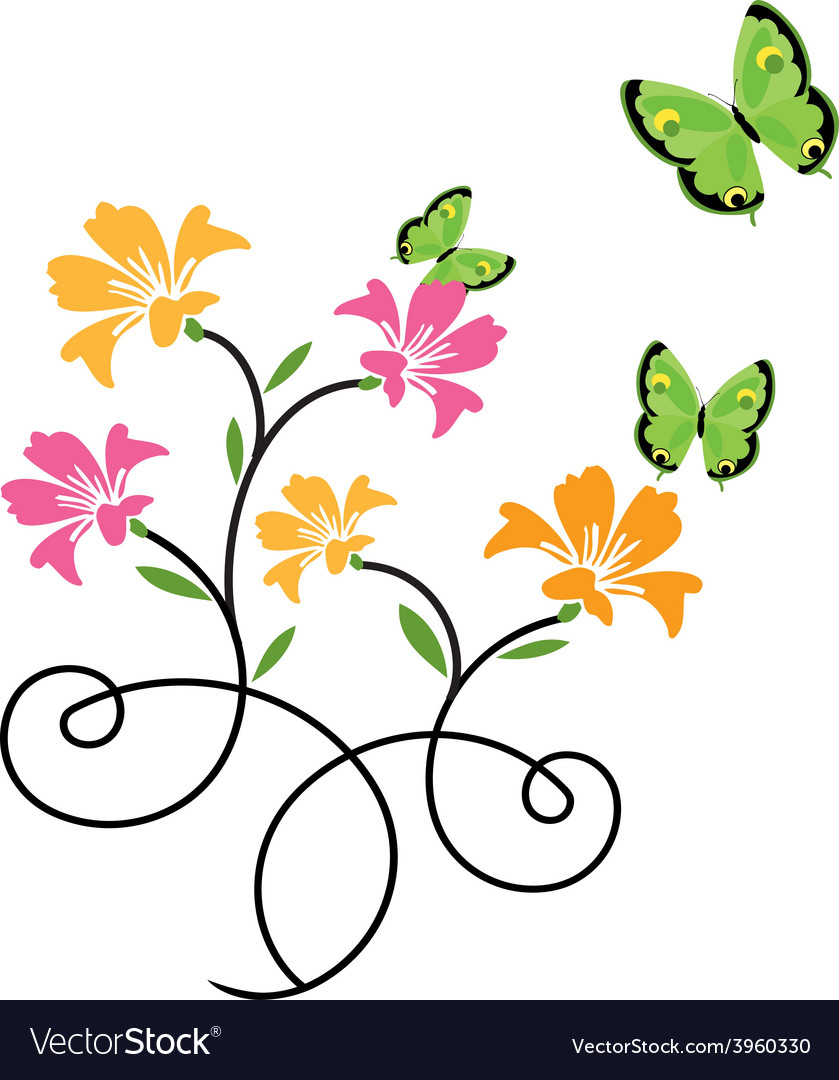 Butterflies and flowers 9 vector | Price: 1 Credit (USD $1)