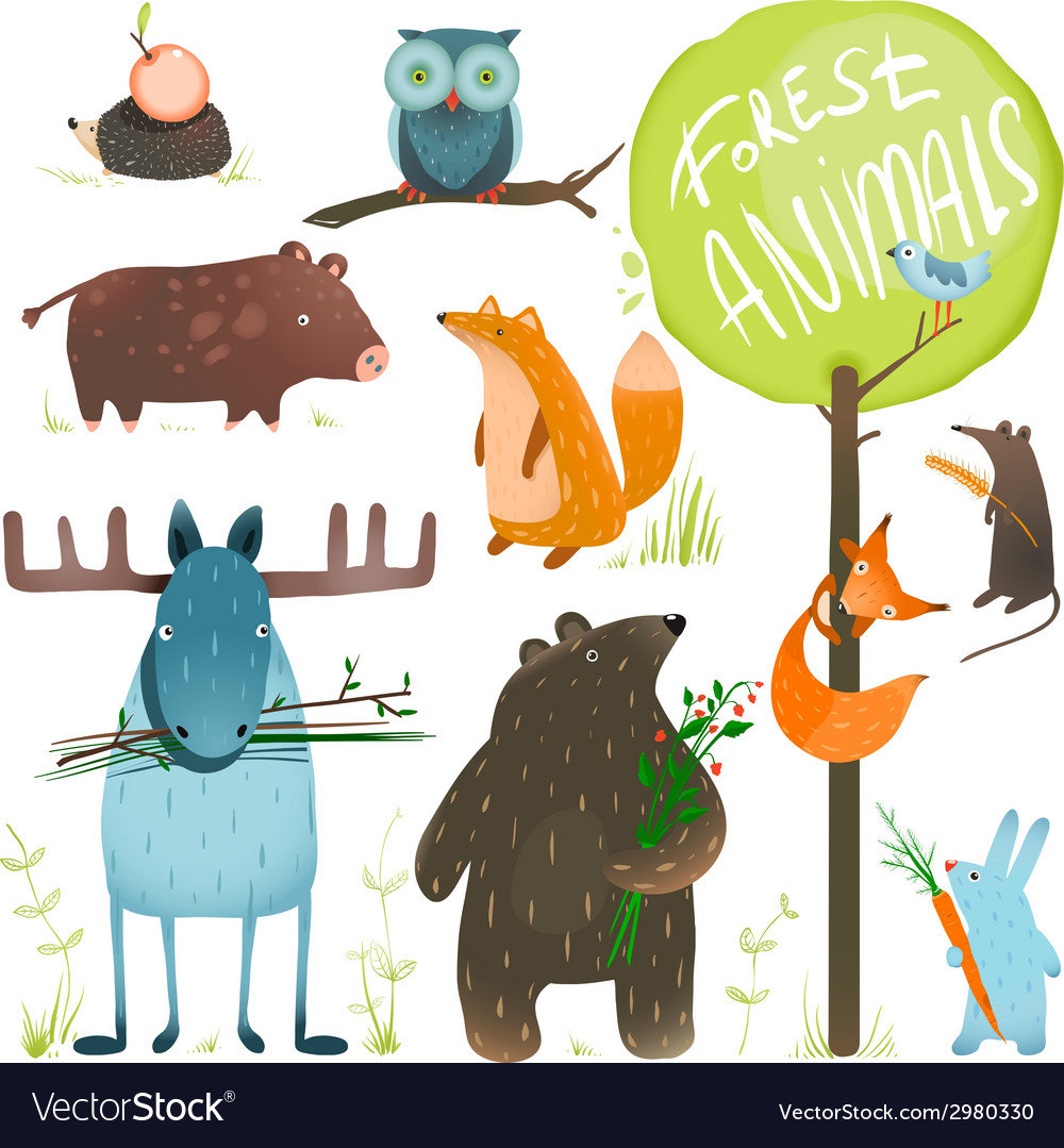 Cartoon forest animals set vector | Price: 1 Credit (USD $1)