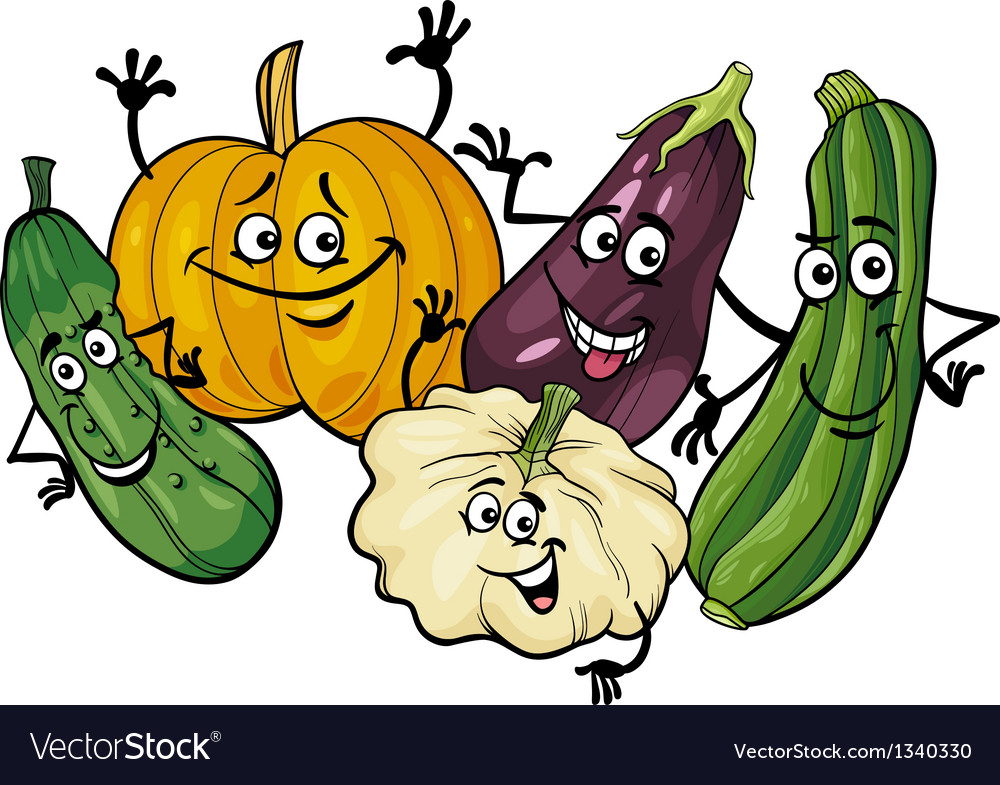 Cucurbit vegetables group cartoon vector