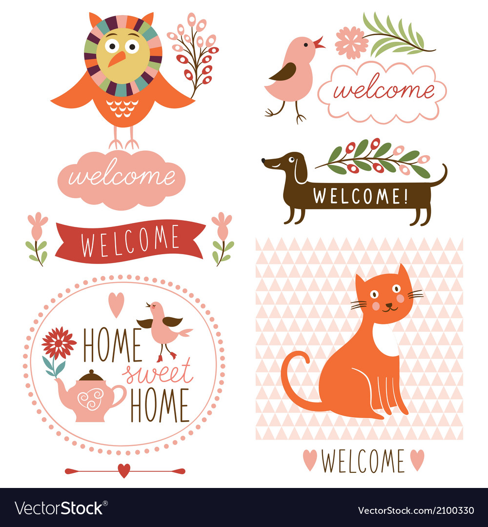 Decor elements welcome home lettering vector | Price: 1 Credit (USD $1)