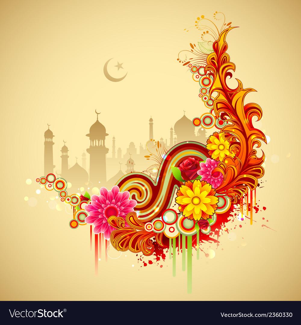 Eid mubarak happy eid background vector | Price: 1 Credit (USD $1)
