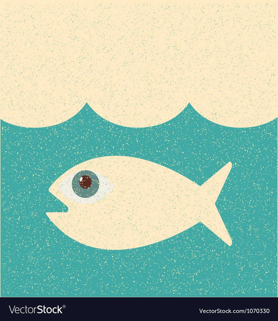 Fish retro poster vector | Price: 1 Credit (USD $1)