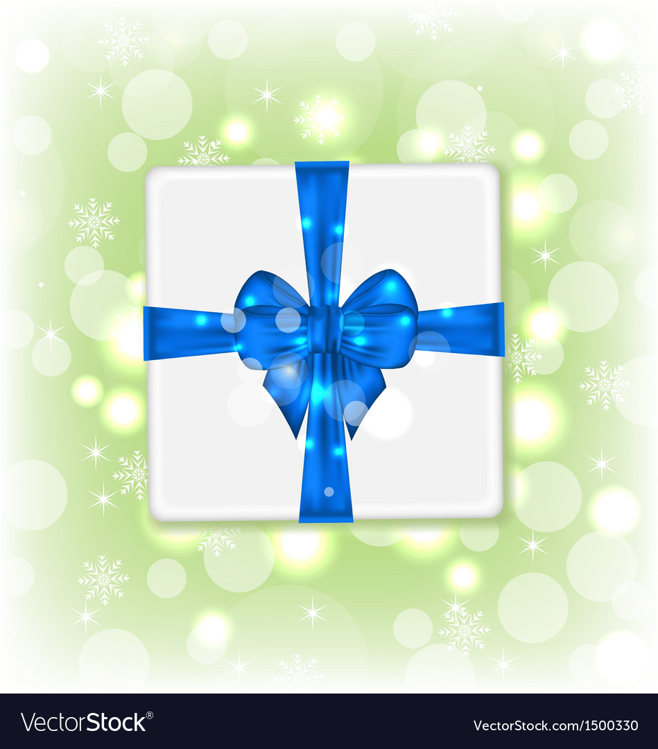 Gift box with blue bow for your party vector | Price: 1 Credit (USD $1)