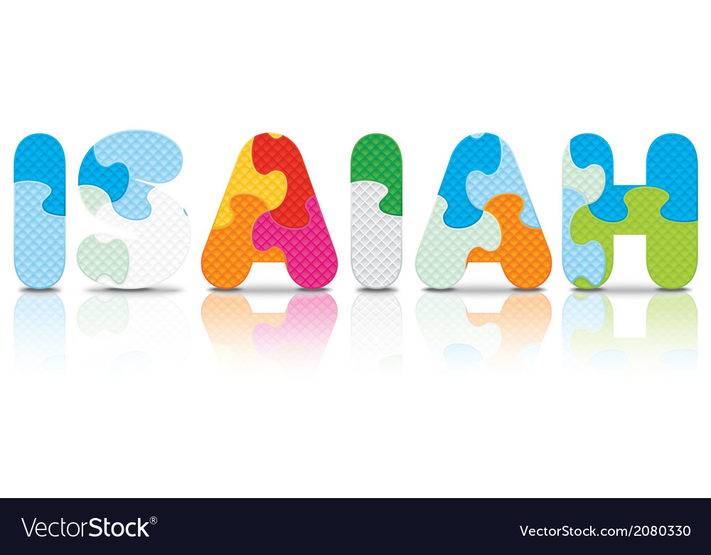 Isaiah written with alphabet puzzle vector   Price: 1 Credit (USD $1)