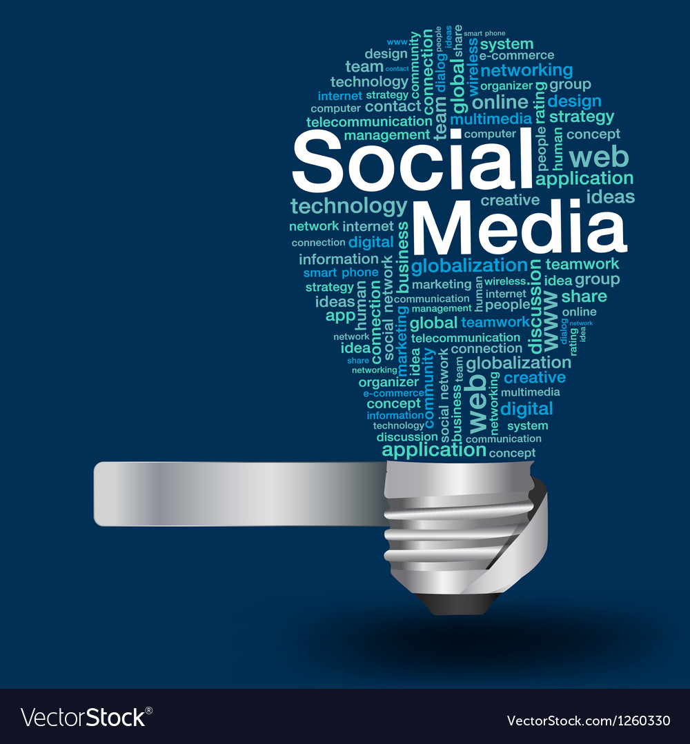 Light bulb with social media concept of word cloud vector | Price: 1 Credit (USD $1)