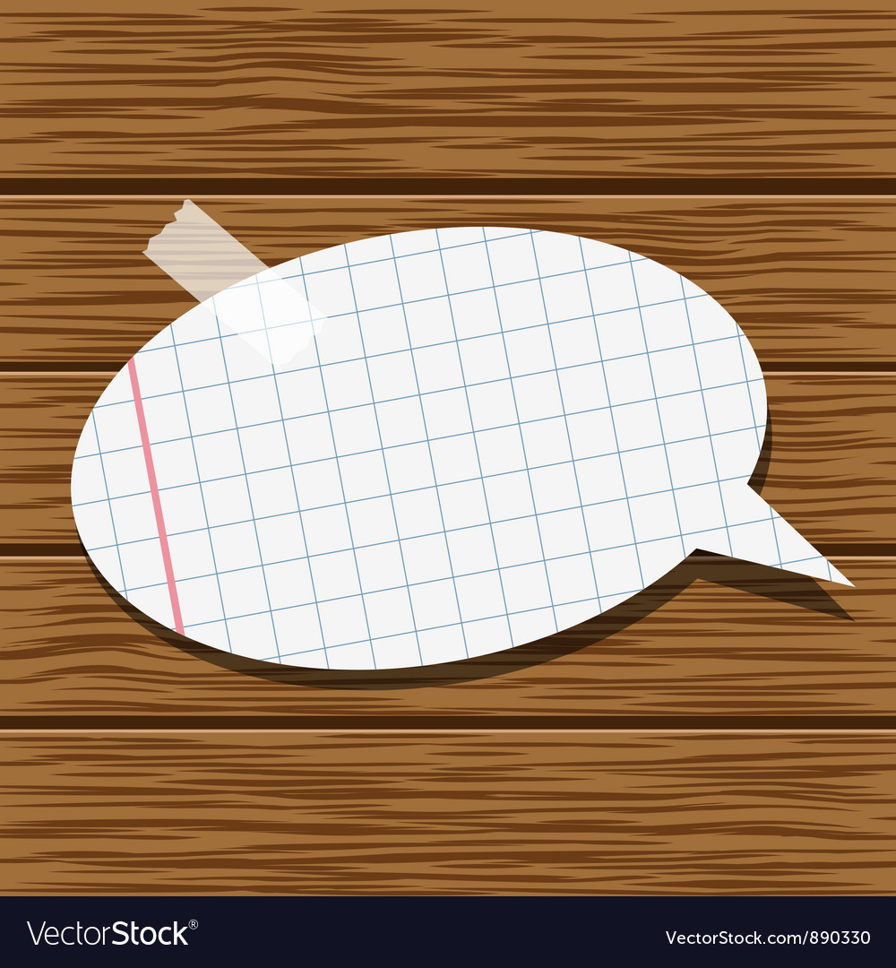 Paper speech bubble and wood background vector | Price: 1 Credit (USD $1)