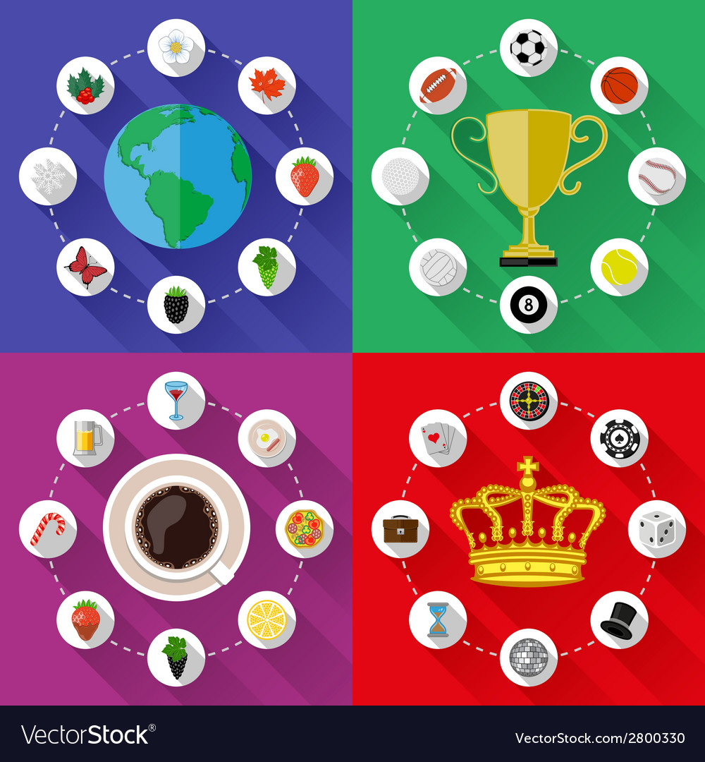 Set of nature sports food and drinks concepts vector | Price: 1 Credit (USD $1)
