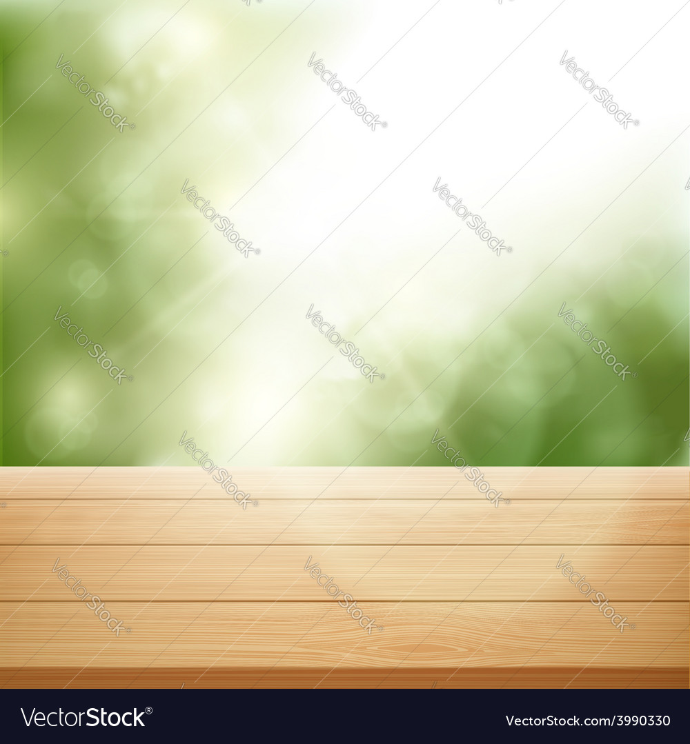 Wooden table on background of trees vector | Price: 1 Credit (USD $1)