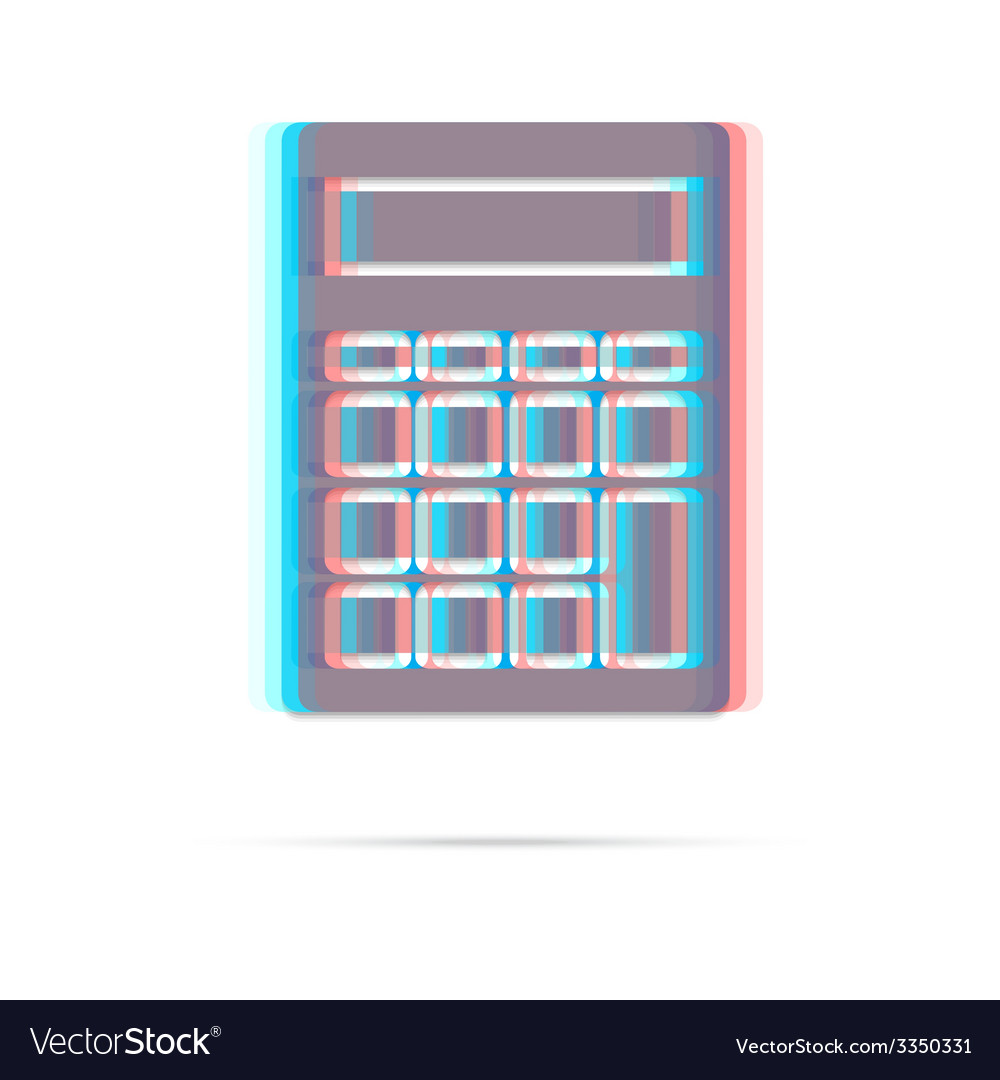 Calculator anagliph icon with shadow vector | Price: 1 Credit (USD $1)
