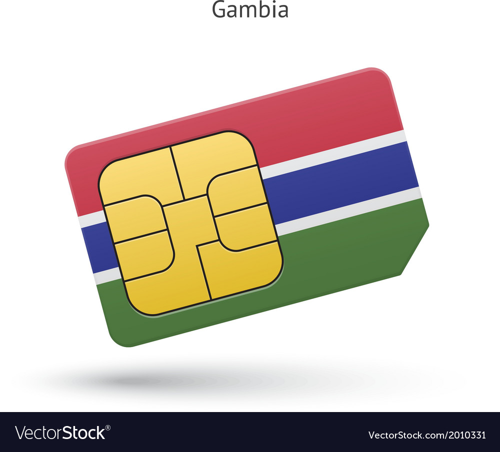 Gambia mobile phone sim card with flag vector | Price: 1 Credit (USD $1)