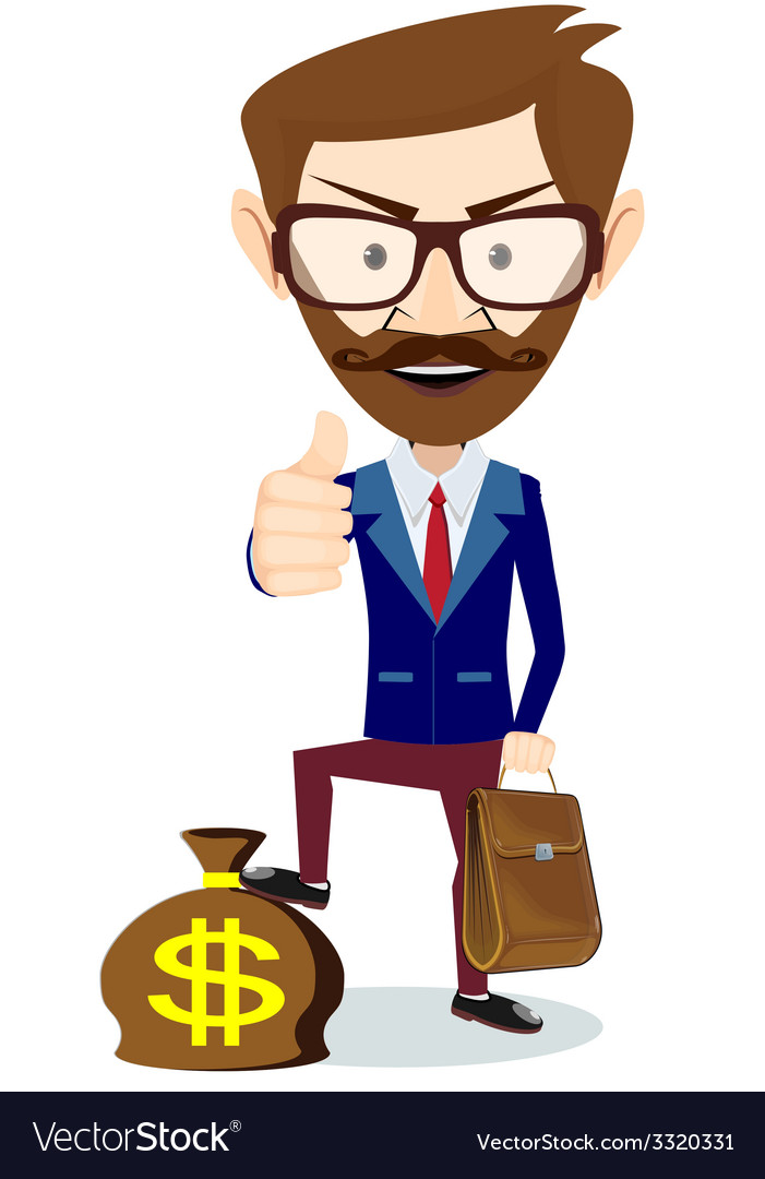 Hipster businessman standing on the bag with vector | Price: 1 Credit (USD $1)