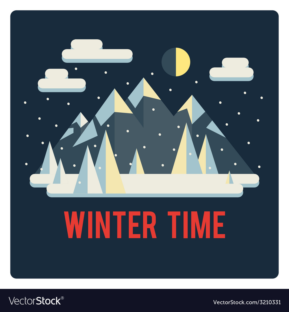 Mountains landscape winter time night vector | Price: 1 Credit (USD $1)