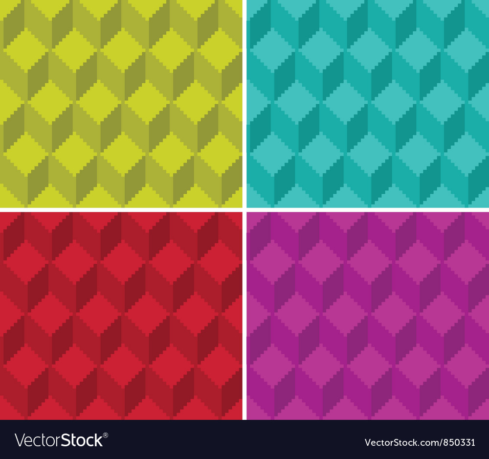 Pixelated cubic seamless background pattern vector | Price: 1 Credit (USD $1)