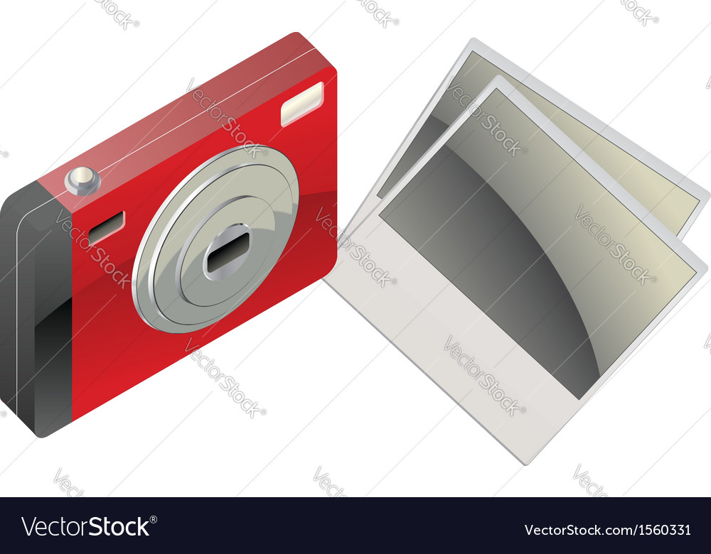 Red digital camera and photo cards2 vector | Price: 1 Credit (USD $1)