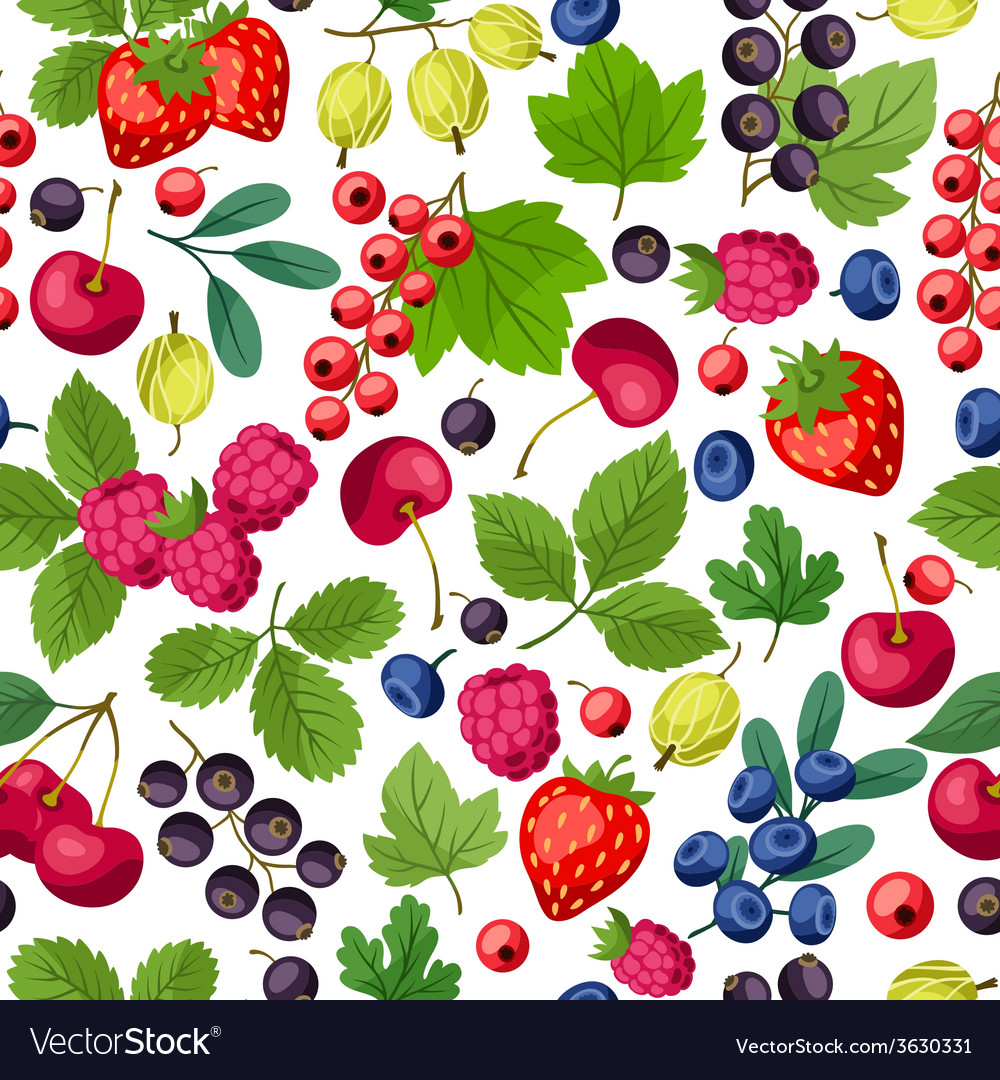 Seamless nature pattern with berries vector | Price: 1 Credit (USD $1)