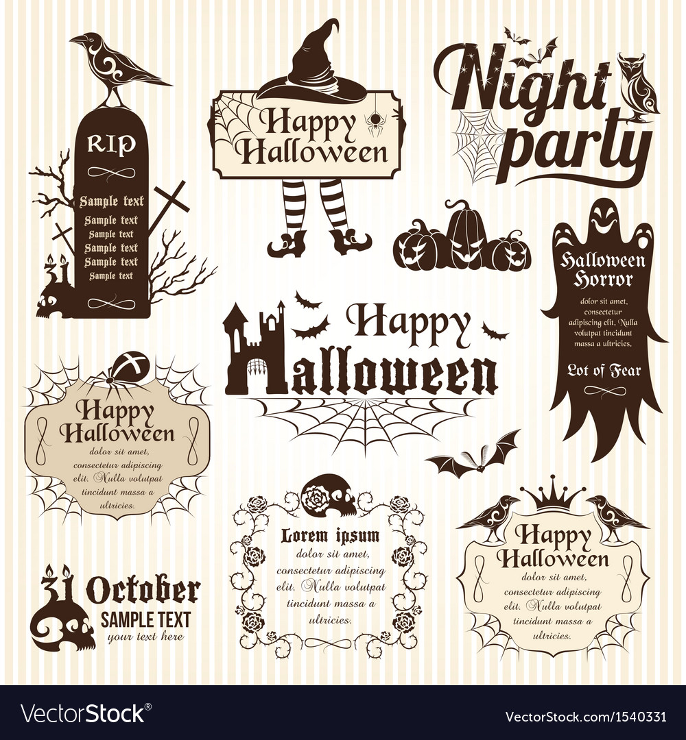 Set of halloween design elements vector | Price: 3 Credit (USD $3)