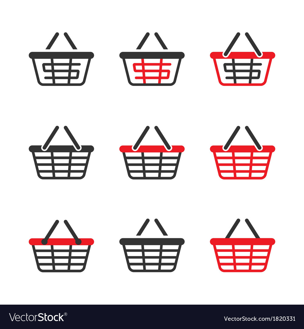 Shopping basket icon set vector | Price: 1 Credit (USD $1)