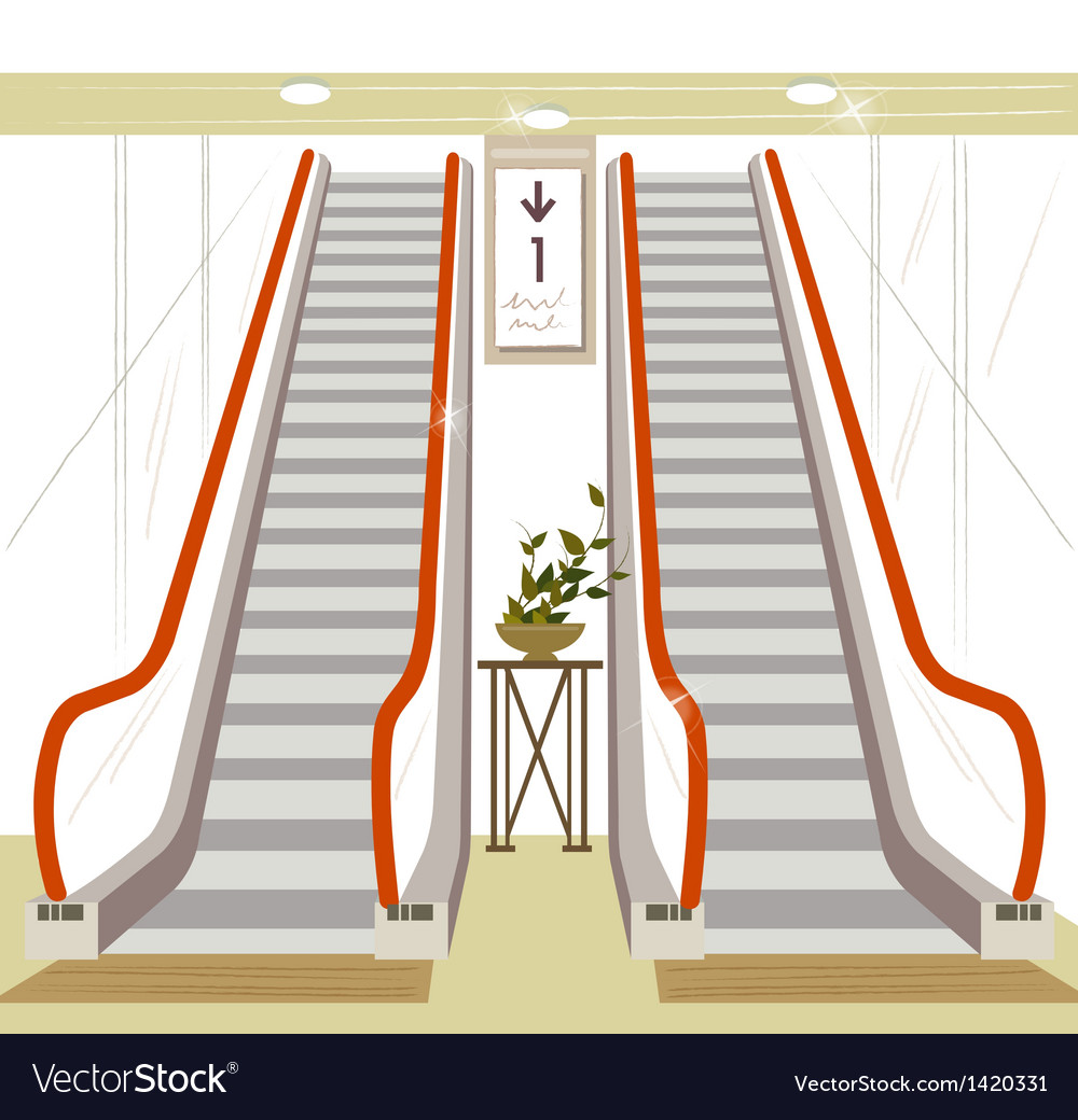 Shopping mall escalator vector | Price: 1 Credit (USD $1)