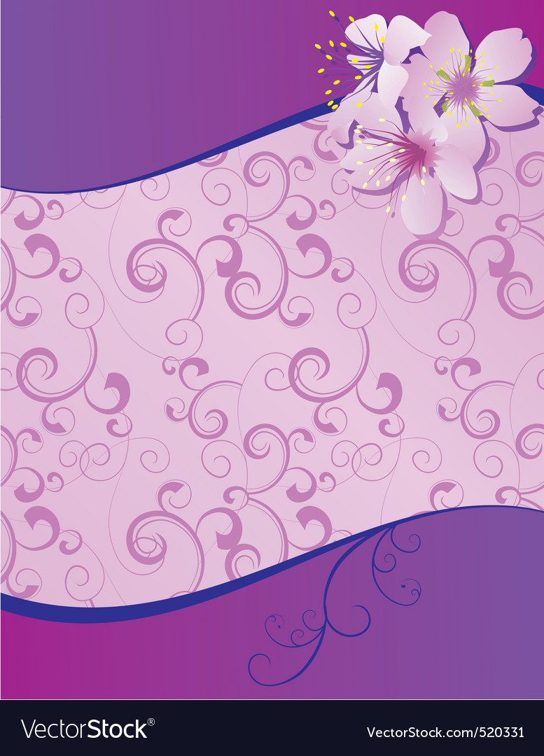 Violet flowers wave blank vector | Price: 1 Credit (USD $1)
