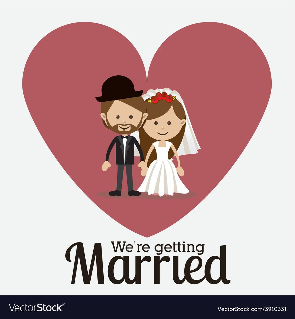 Wedding design over orange background vector | Price: 1 Credit (USD $1)