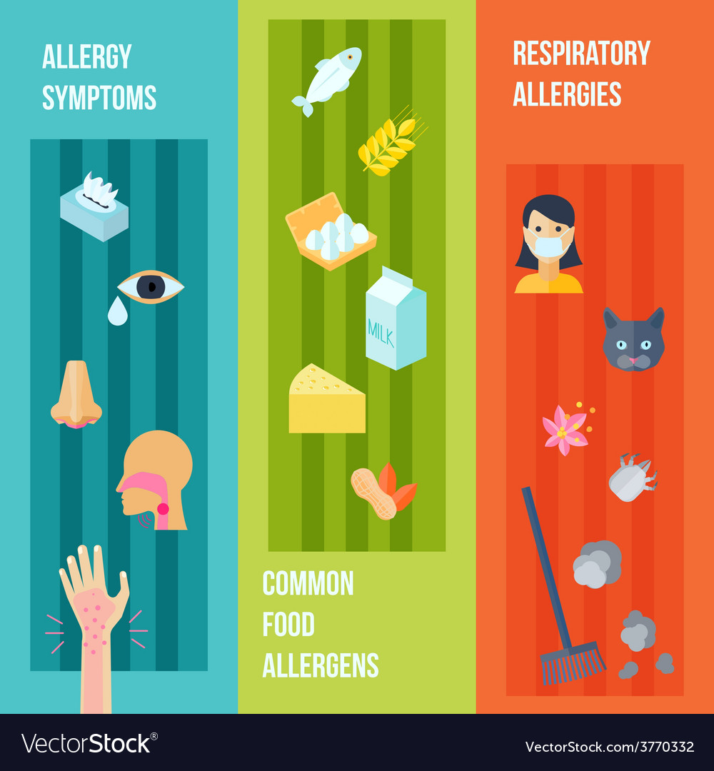 Allergy banner set vector | Price: 1 Credit (USD $1)