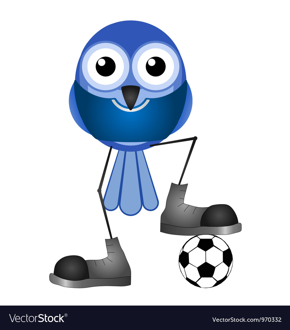 Birds soccer player blue vector | Price: 1 Credit (USD $1)
