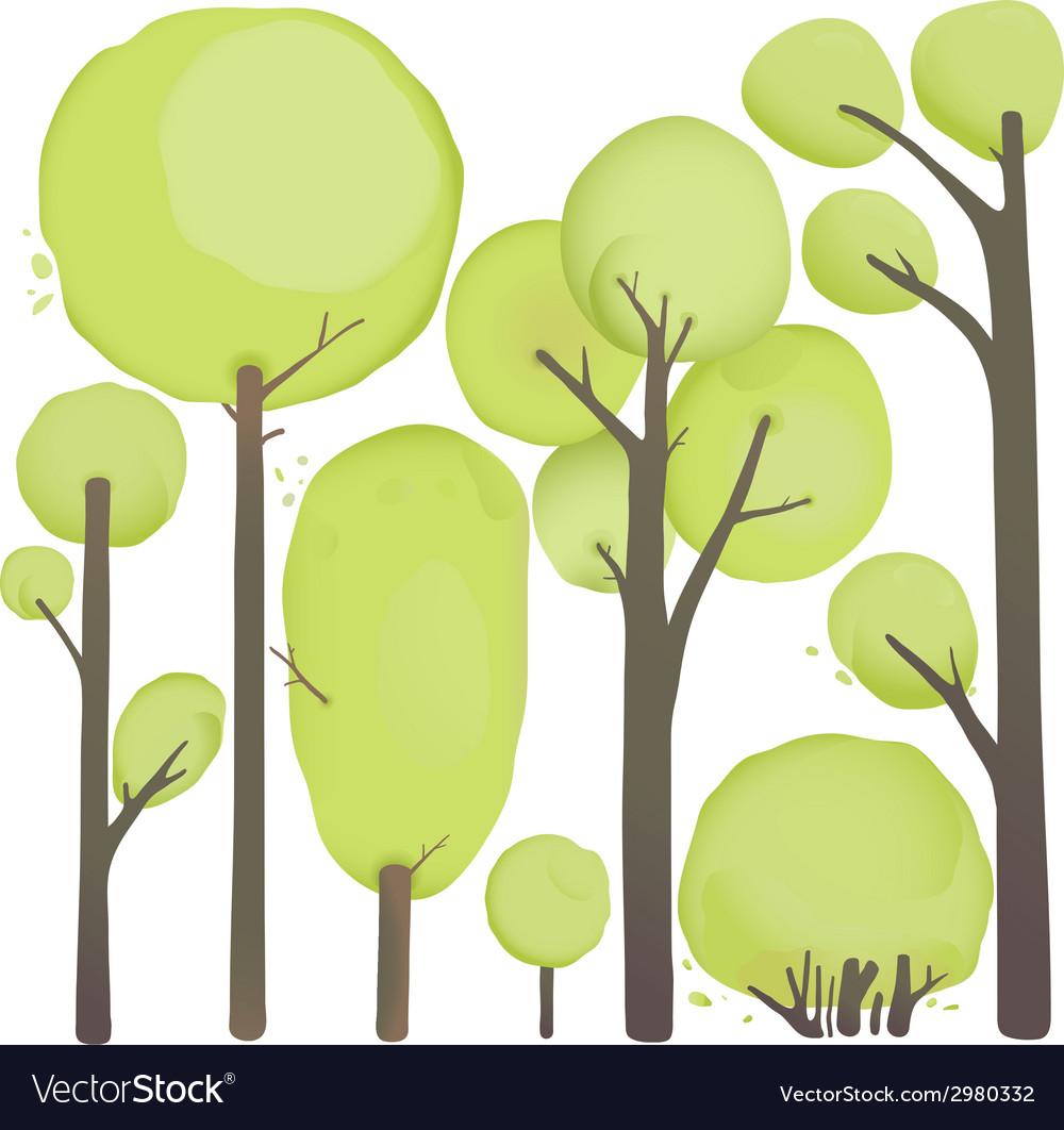 Cartoon watercolor trees set vector | Price: 1 Credit (USD $1)