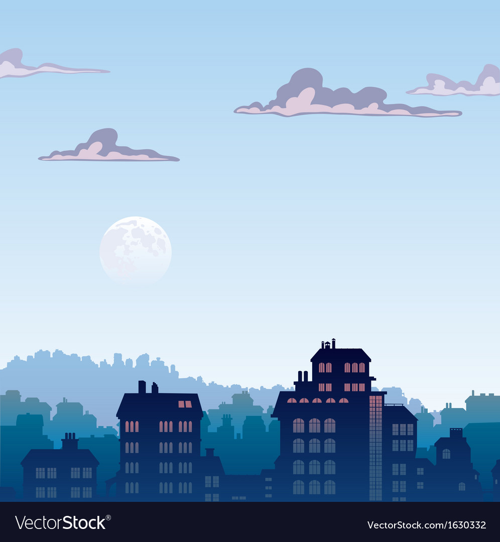City by morning vector | Price: 1 Credit (USD $1)