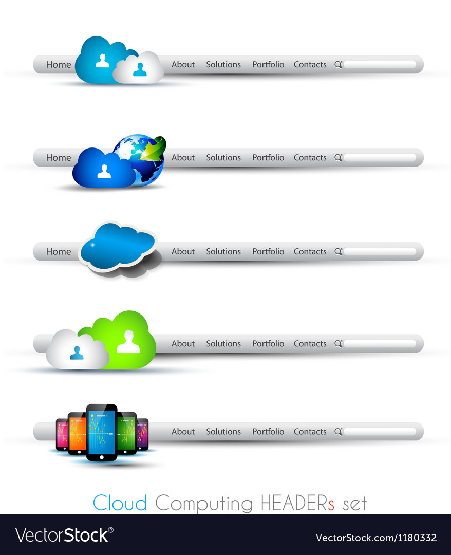 Cloud computing themed headers or footers vector | Price: 1 Credit (USD $1)
