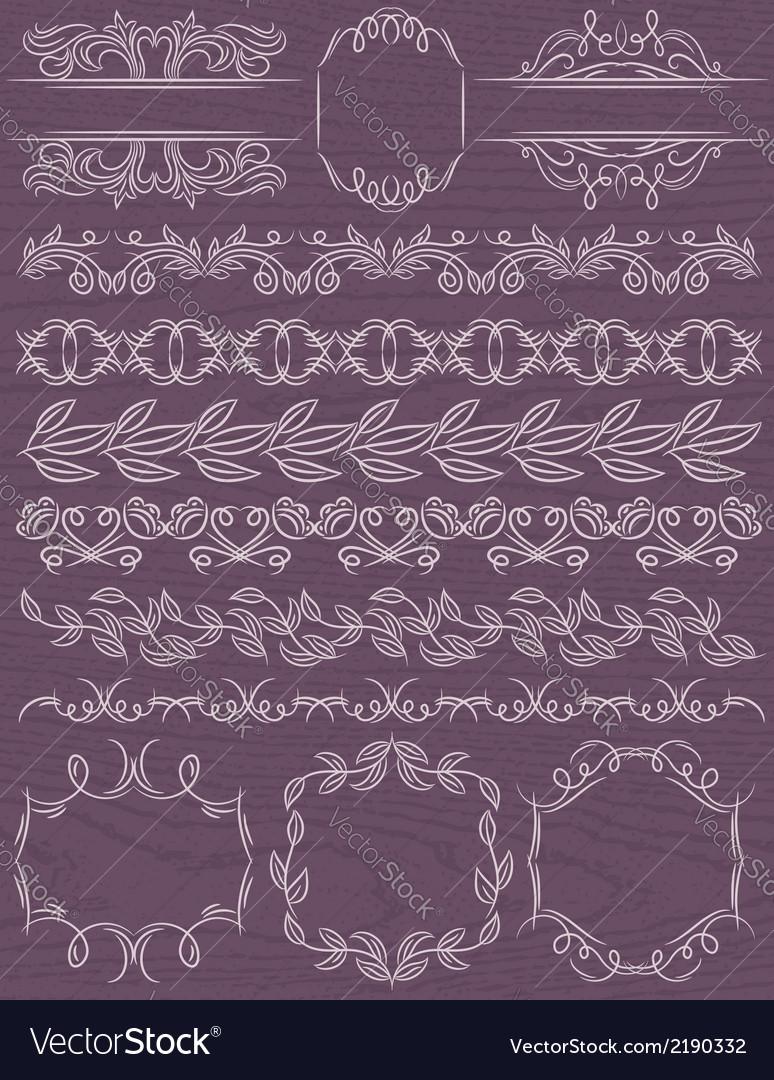 Floral decorative borders ornamental rules divider vector | Price: 1 Credit (USD $1)