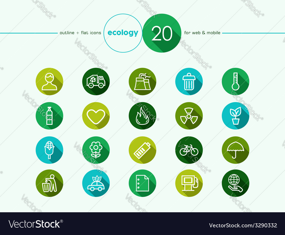 Green environment flat icons set vector | Price: 1 Credit (USD $1)