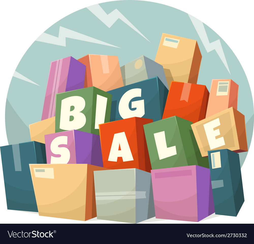 Heap of boxes with big sale text vector | Price: 1 Credit (USD $1)