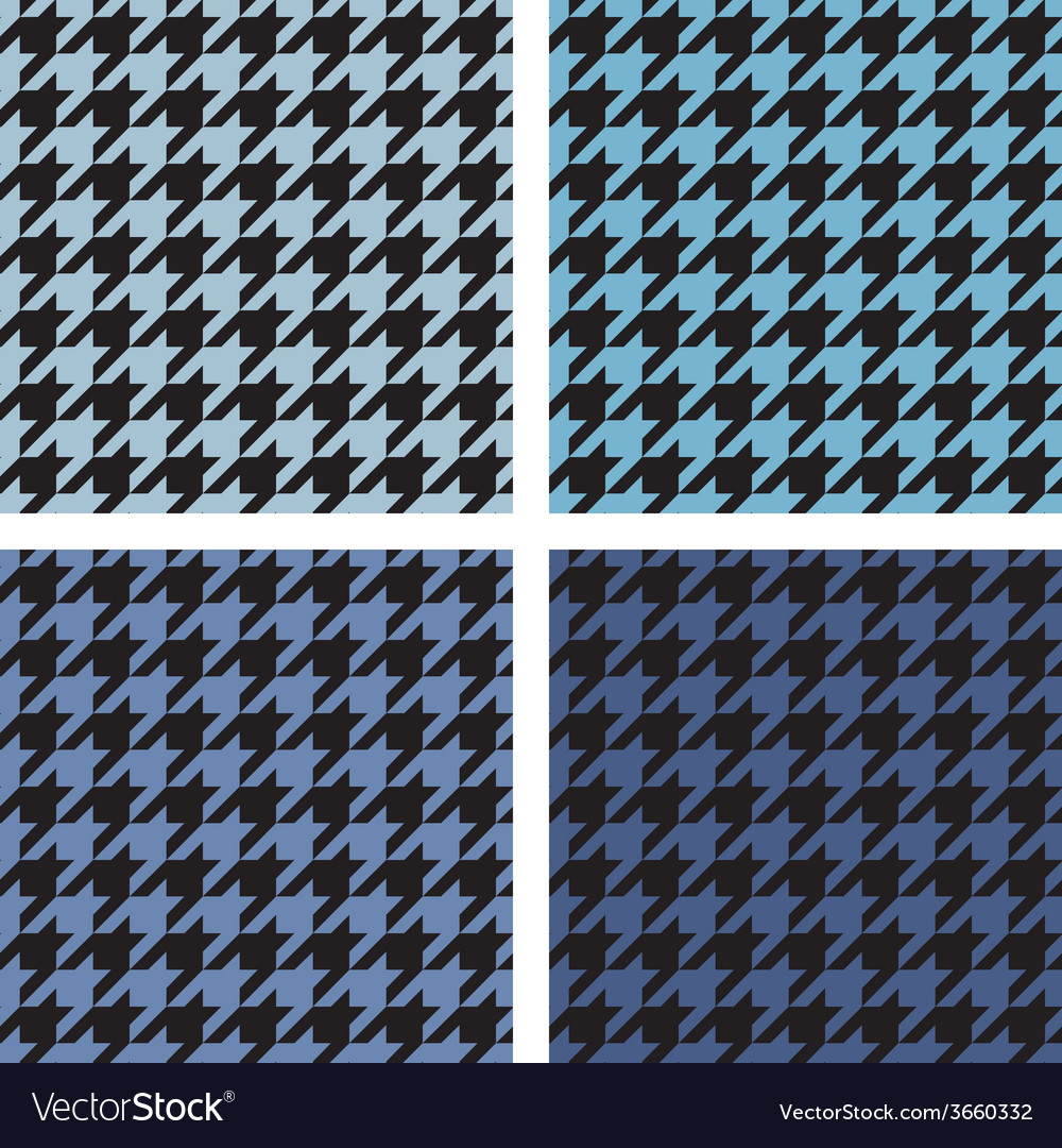 Houndstooth tile blue and black pattern set vector | Price: 1 Credit (USD $1)