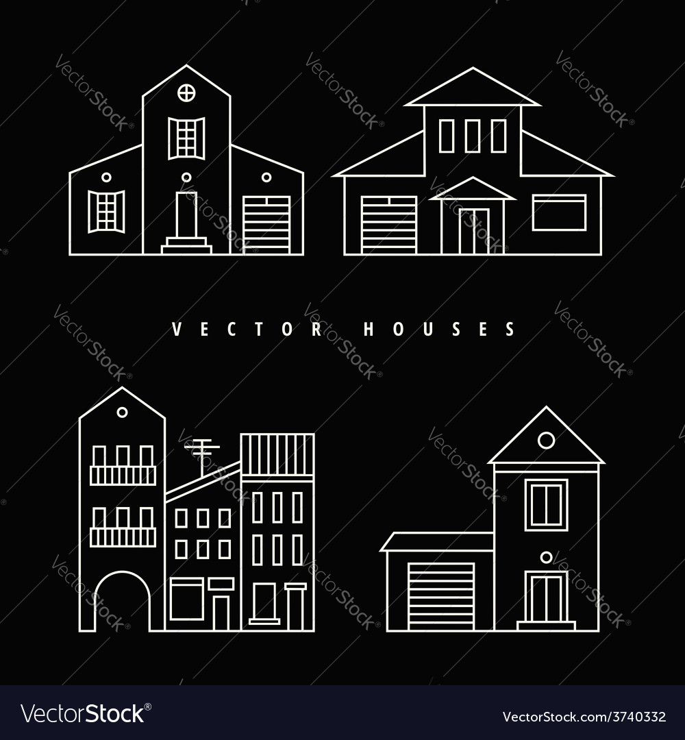 Houses set drawn white outline on a black vector | Price: 1 Credit (USD $1)