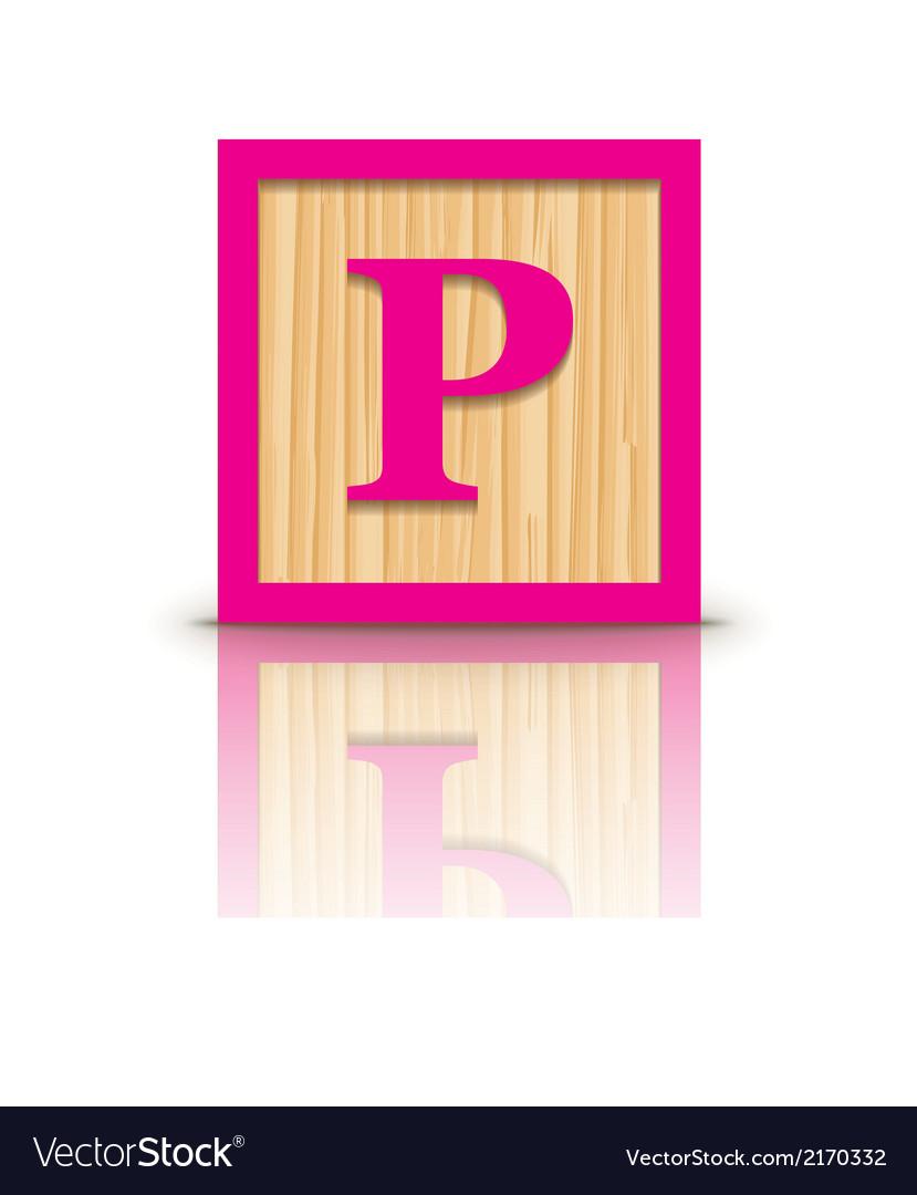 Letter p wooden alphabet block vector | Price: 1 Credit (USD $1)