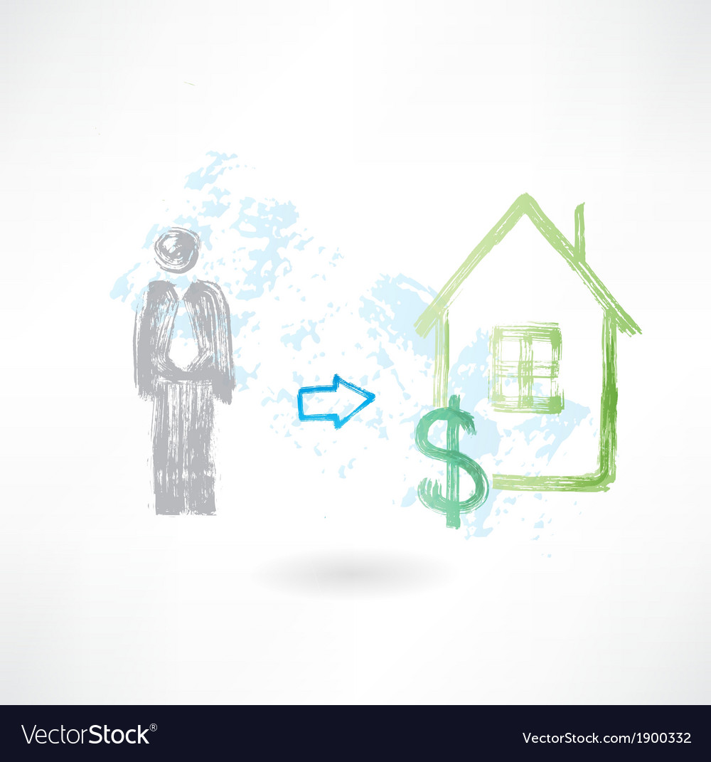 Man buying a house grunge icon vector | Price: 1 Credit (USD $1)
