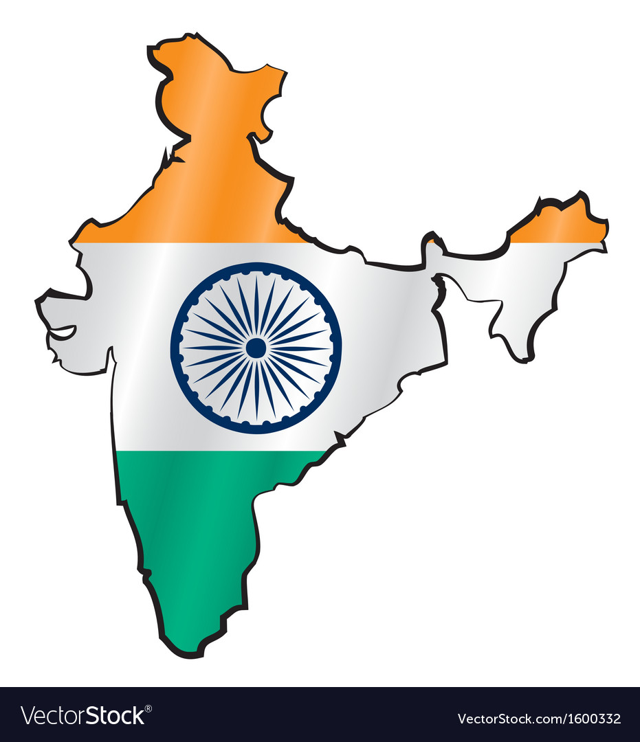 Map of india with flag vector | Price: 1 Credit (USD $1)
