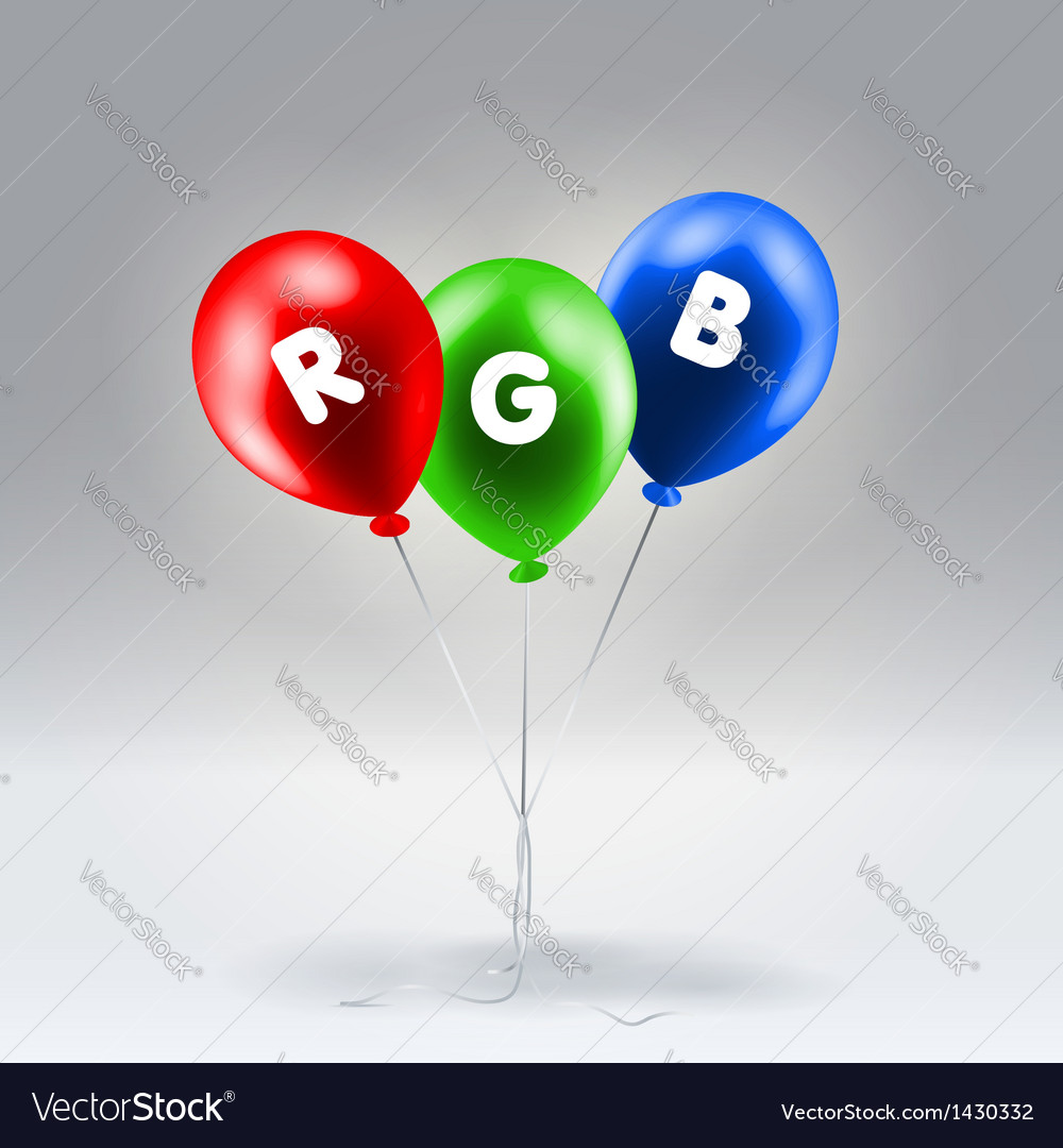 Red green and blue inflatable balloons vector | Price: 1 Credit (USD $1)