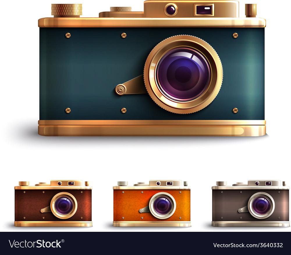 Retro style camera set vector | Price: 1 Credit (USD $1)