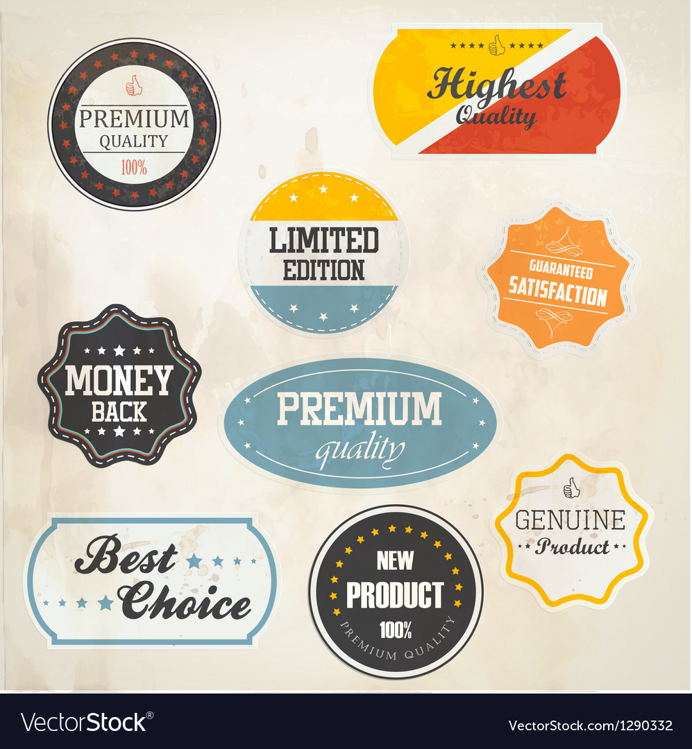 Retro styled labels vector | Price: 3 Credit (USD $3)