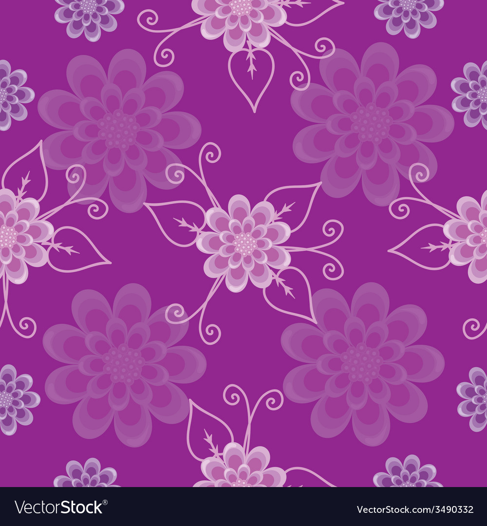 Seamless pattern lilac flowers vector | Price: 1 Credit (USD $1)