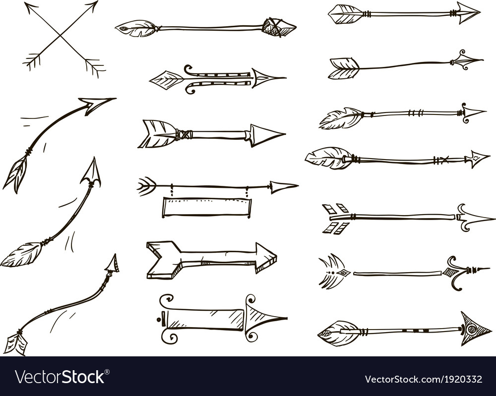 Set of doodle arrows tribal style vector | Price: 1 Credit (USD $1)