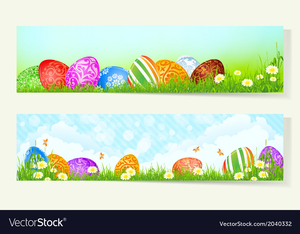 Set of two easter banner vector | Price: 1 Credit (USD $1)
