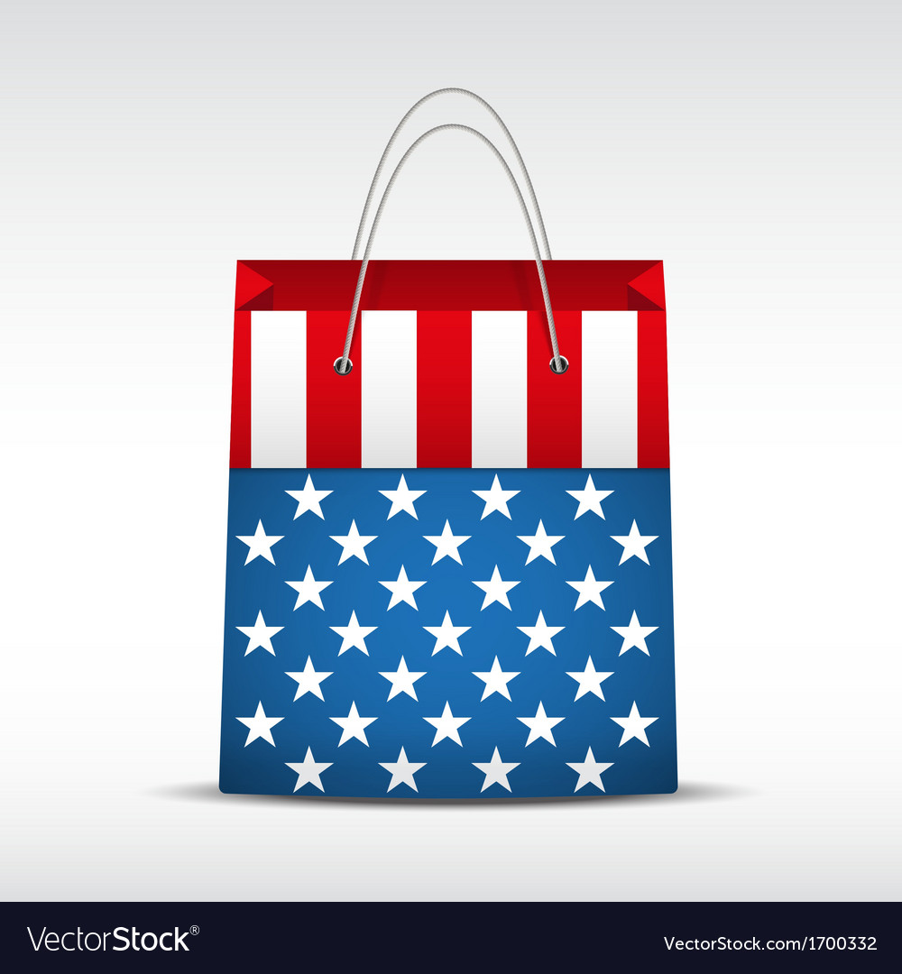 Shopping bag with usa flag vector | Price: 1 Credit (USD $1)