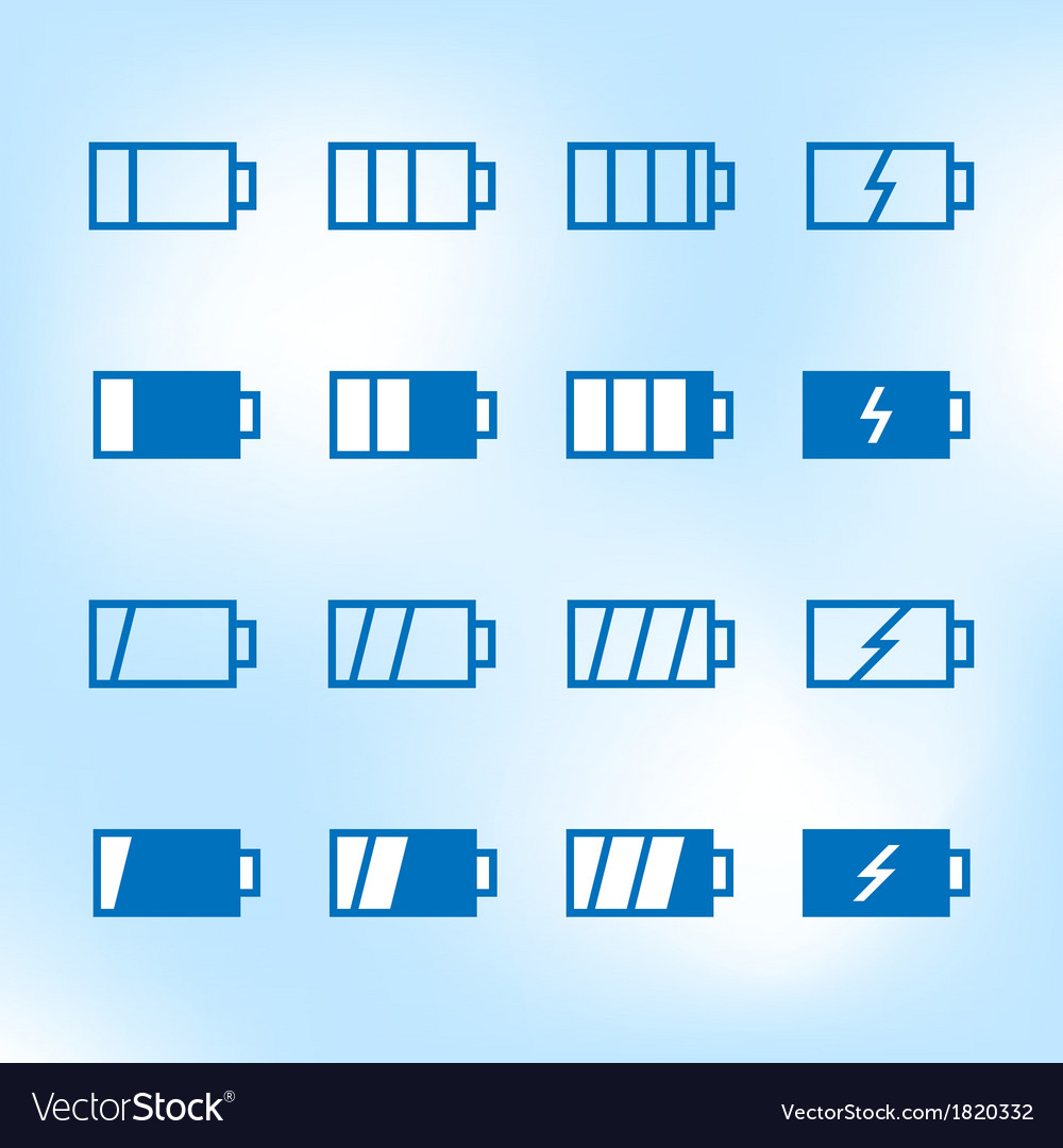 Thin icon set battery charge level vector | Price: 1 Credit (USD $1)