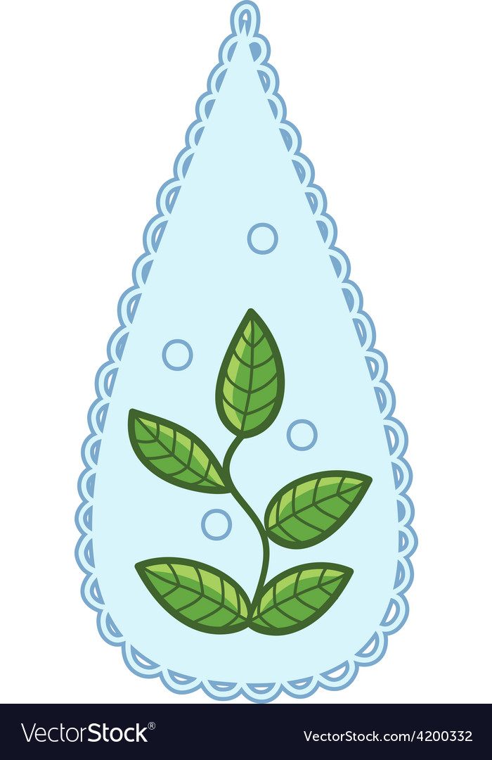 Water drop with leaves within vector | Price: 1 Credit (USD $1)
